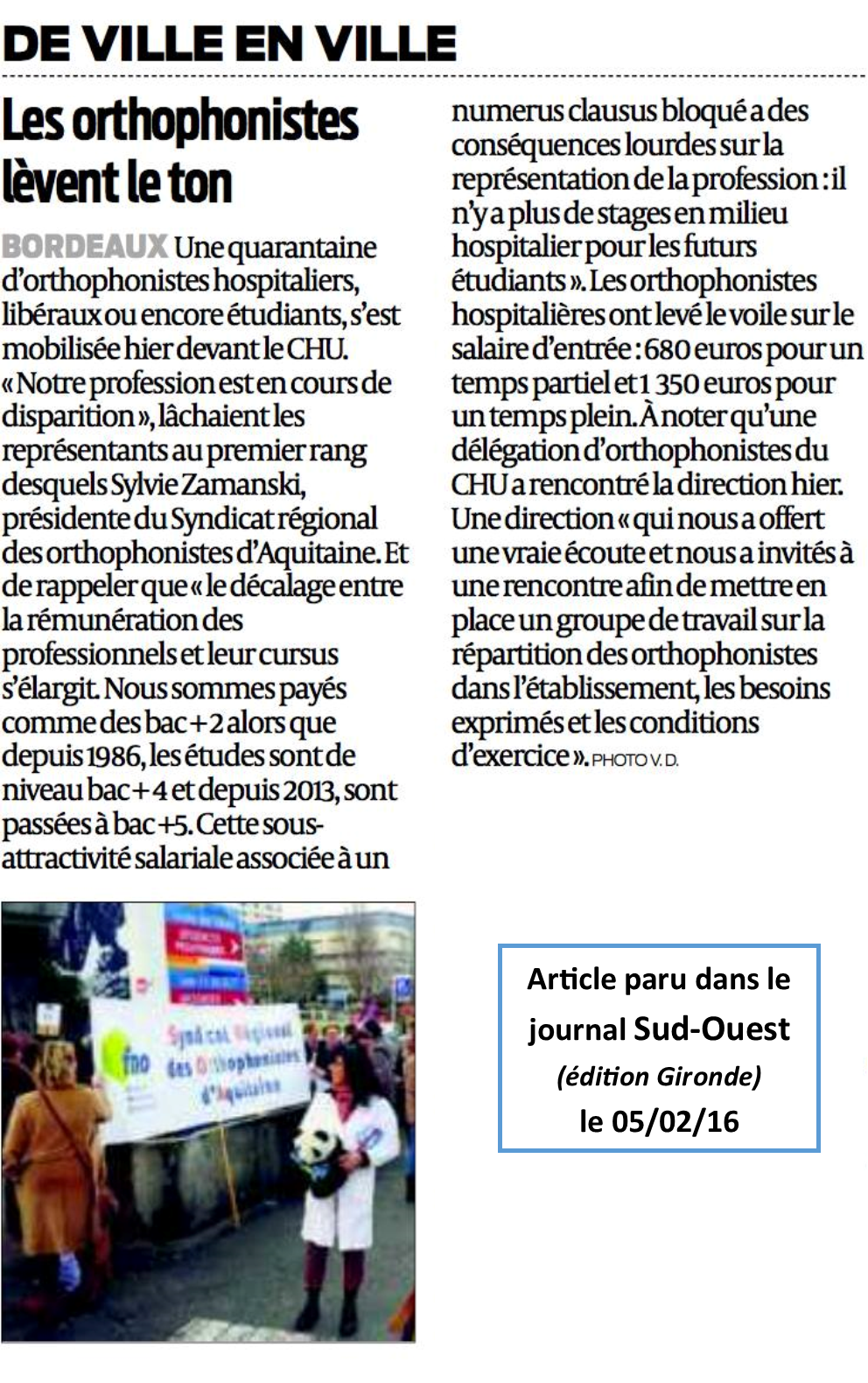 Article sud ouest manif